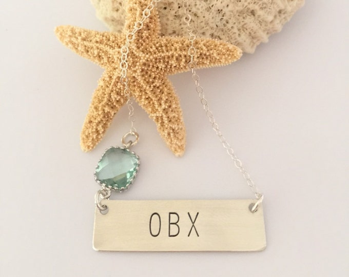OBX Stamped Sterling Silver Bar Necklace Outer Banks Nags Head Kitty Hawk Corrolla Ocracoke Avon Hatteras Beach Ocean Sea Gift