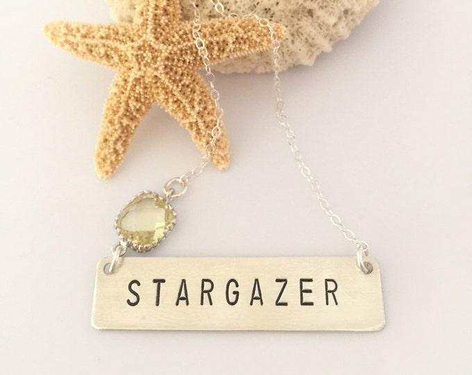 STARGAZER Stamped Bohemian Name Plate Custom Boho Wanderlust  Free Spirit