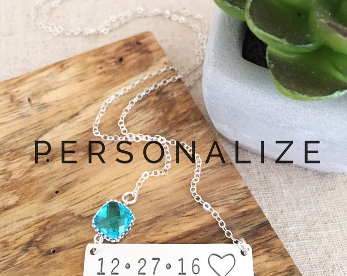 Sterling Silver Custom Date Bar Necklace Stamped Nameplate Personalized Wedding Anniversary Bridesmaids Bohemian Birthstone Gift Personalize
