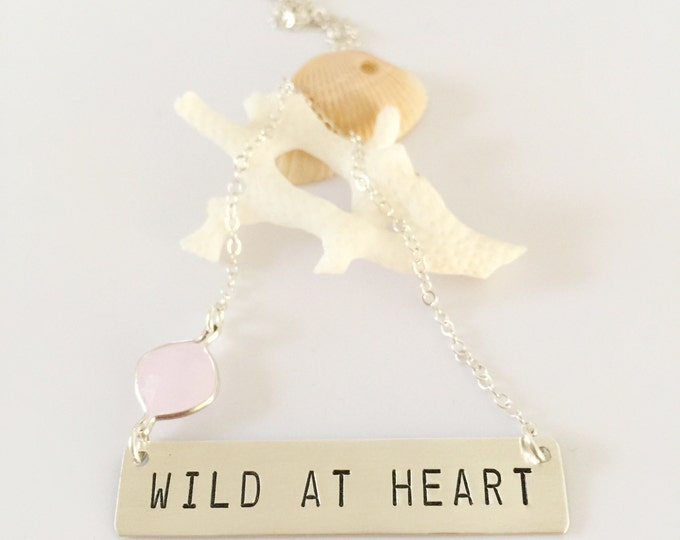WILD At Heart Stamped Sterling Silver Bar Necklace Layering Boho Chic Custom Personalized Friend Gift Bohemian Free Spirit