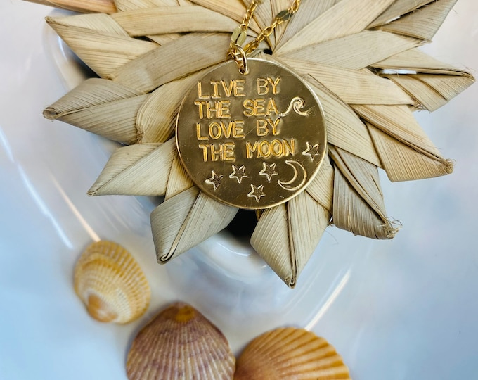 New // Live By The Sea Love By the Moon Disc Gold Fill