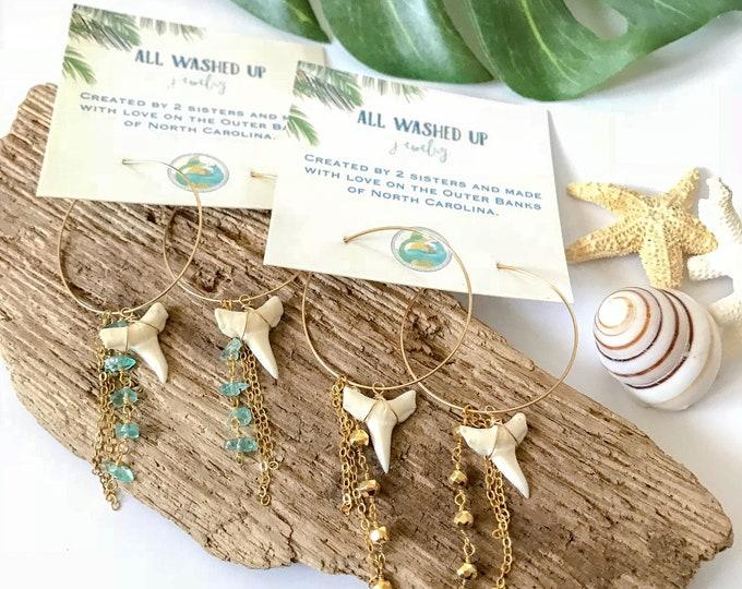 New! // Gold Fill Shark Tooth Hoop Earrings