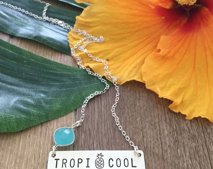 Tropicool Sterling Silver Bar Necklace