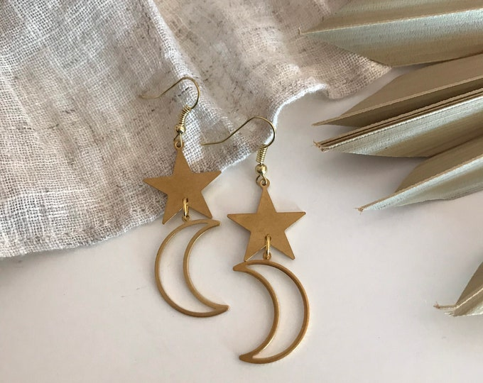 New! // Star & Moon Brass Earrings