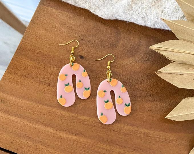 New! // Peach Acrylic Earrings