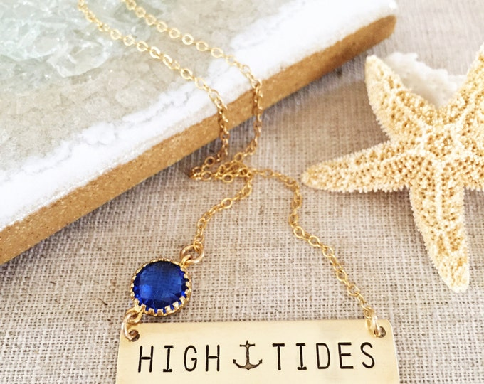 High Tides Bar Necklace Nameplate Necklace Stamped Ocean Beach Sea Coastal