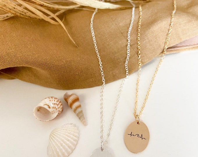 New Wave lifeline Necklace 14kt Goldfill and Sterling Silver