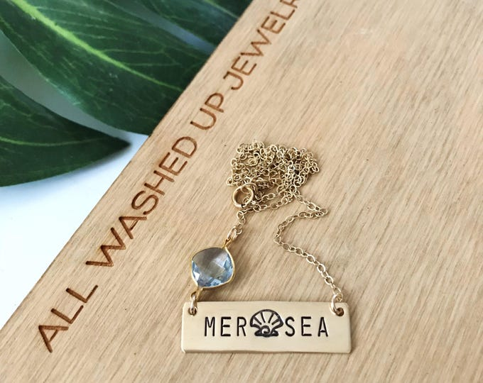 New! // Mer Sea Gold Fill Bar Necklace