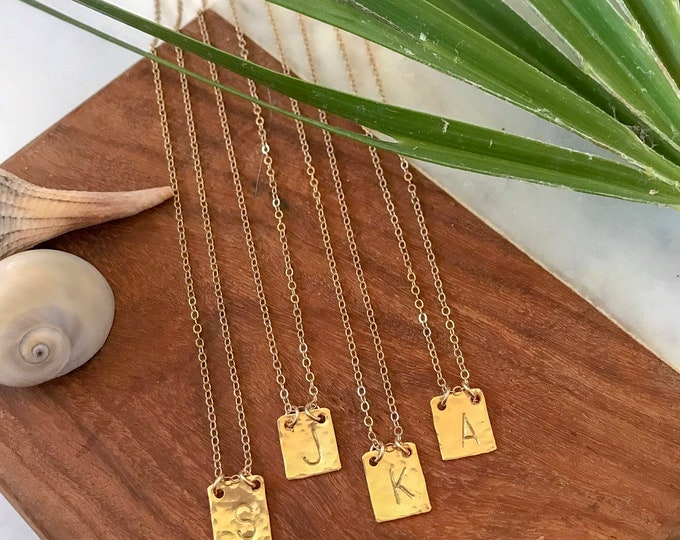 New! // Hammered Custom Inital Tag Gold Filled Sterling Silver