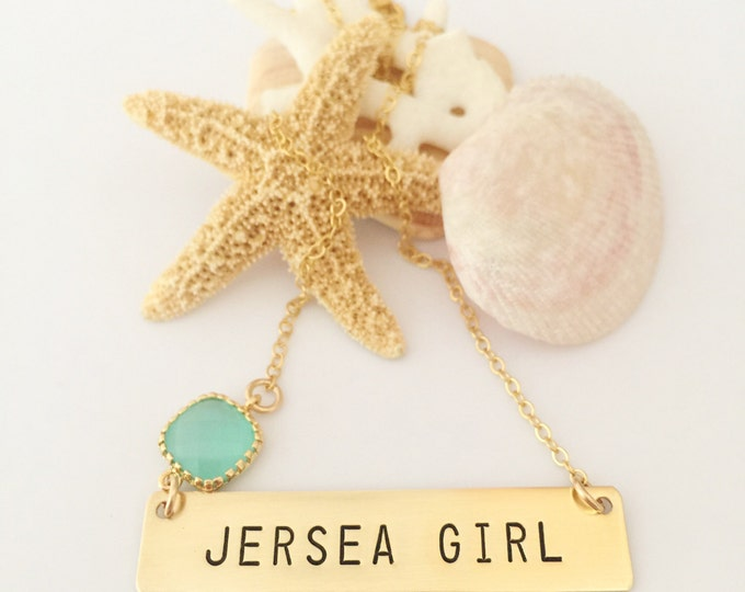 Jersea Girl Stamped Gold Fill Bar NecklaceJersey Shore Beach Wedding Friend Gift Mermaid Nautical Outer Banks Bridesmaids Custom Personalize