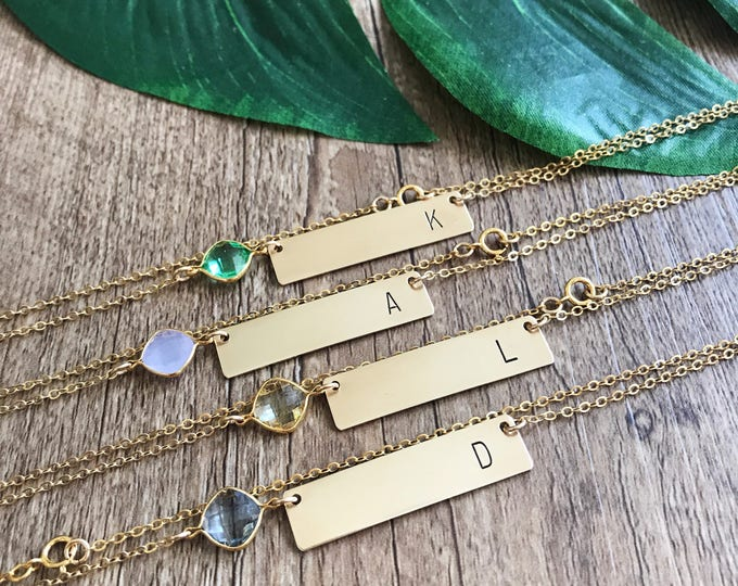 Customizable Initial Stamped Gold Fill Bar Necklace Personalized Custom Bridesmaids Friend Gift