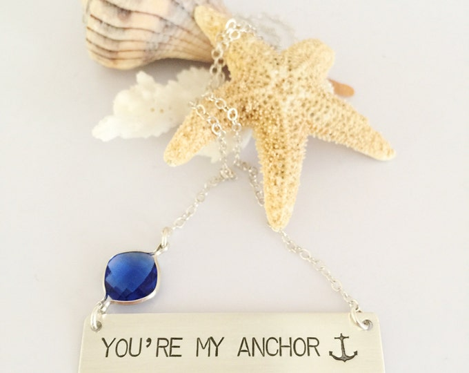 You're my Anchor Bar Necklace Sterling Silver Nautical Beach Ocean valentines Wedding Sea Boho Outer Banks OBX Gift Friend Love Mermaid