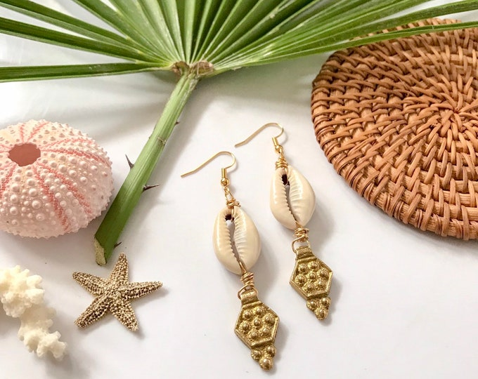 New! // Cowrie Shell and Brass Earrings