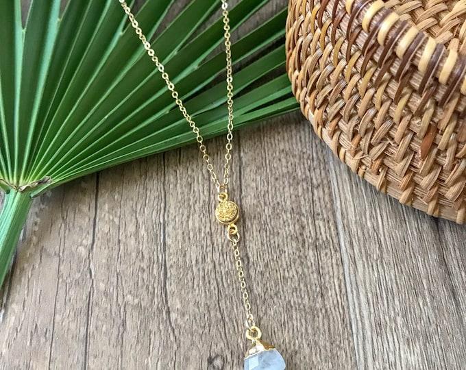 New! // Gold Druzy Moonstone Drop Lariat Necklace