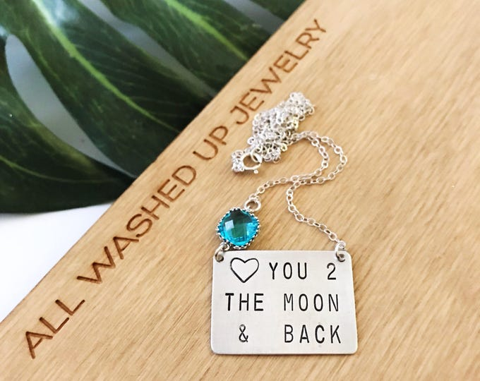 Love You To The Moon & Back Stamped Sterling Silver Bar Necklace