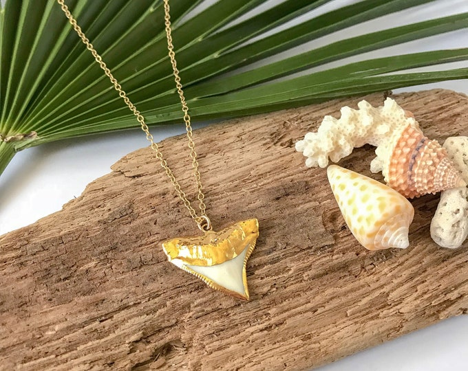 24kt Gold Dipped Sharks Tooth Nautical Ocean Outer Banks Shark Tooth Mermaid Friend Gift Layering Boho Necklace