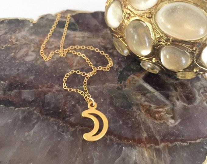 Petite Brass Moon Crescent Layering Bohemian Moonchild Wanderlust Necklace Celestial Stars Gift Friend Graduation Mothers Day Gold Dainty