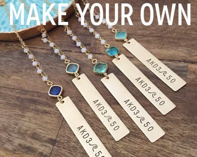 New! // Customizable Vertical Gold Fill Bar Necklace Gift Birthstone