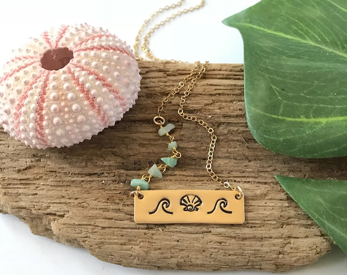 Wave & Shell Gold Fill Stamped Bar Necklace