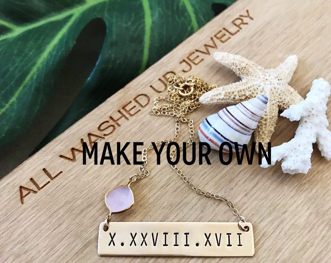 New! // Roman Numeral Gold Filled Bar Date Necklace