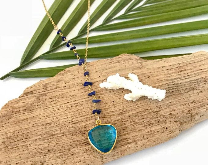 New! // Asymmetrical Beaded Blue Topaz Lapis Lariat Necklace