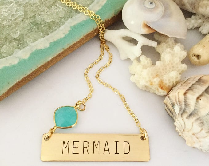 New! //Gold Filled Mermaid Bar Necklace