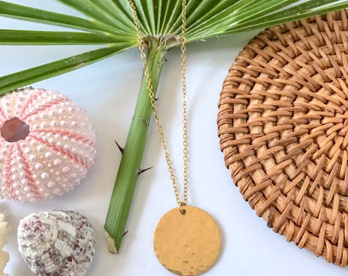 New! // Hammered Gold Fill Disc Necklace