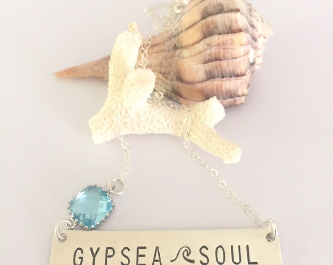 Gypsea Soul Bar Necklace Sterling Silver Stamped Turquoise Beach Bridesmaids Friend Gift Outer Banks OBX Wave Sea Beach Ocean Sunshine Gypsy