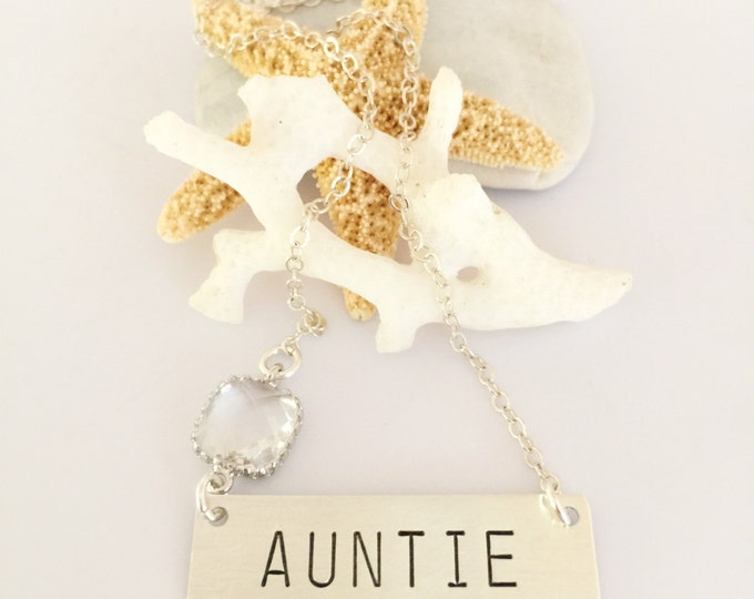 Auntie Stamped Sterling Silver Bar Necklace