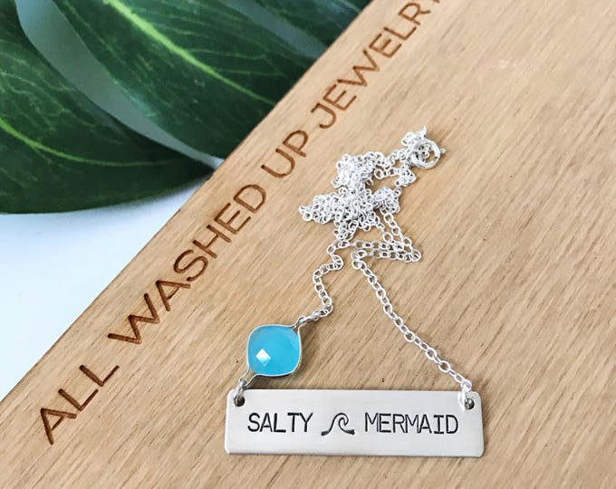 New! // Salty Mermaid Sterling Silver Bar Necklace