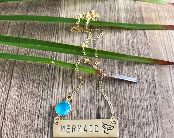 New! // Mermaid Tail  Gold Fill Bar Necklace Nameplate Nautical Anchor Beach Boho Necklace Bridesmaids Beach Wedding Gift