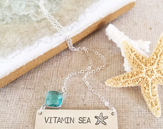 Vitamin Sea Sterling Silver Stamped Mermaid Bar Necklace Turquoise Beach Bridesmaids Friend Gift Outer Banks OBX Mothers Day