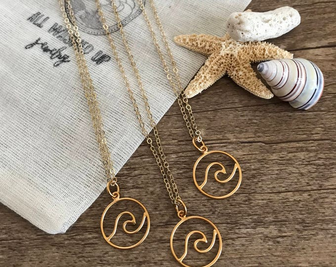 New! // Circle Wave Pendant 24kt Plated
