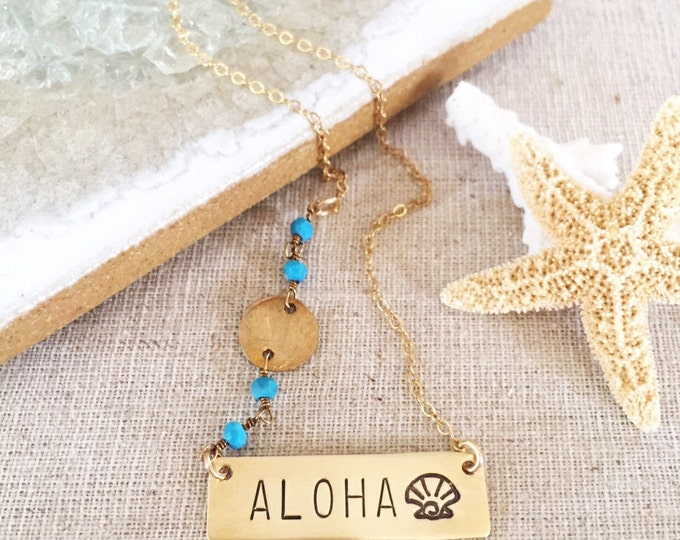 Aloha Bar Necklace Tropical Ocean Hawaii Sea Beach Wedding Bridesmaids Turquoise Palm Tree Layering Necklace Seas The Day