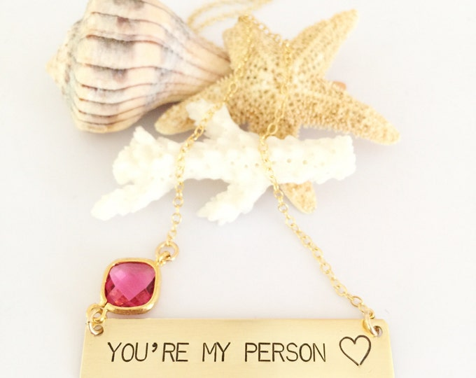 You're My Person Stamped Bar Necklace Name Plate Ocean Beach Wedding Love Gift Gold Fill Gold Custom Personalized