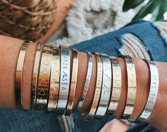 New! // Stamped Sterling Silver and Gold Fill Cuff Bracelets