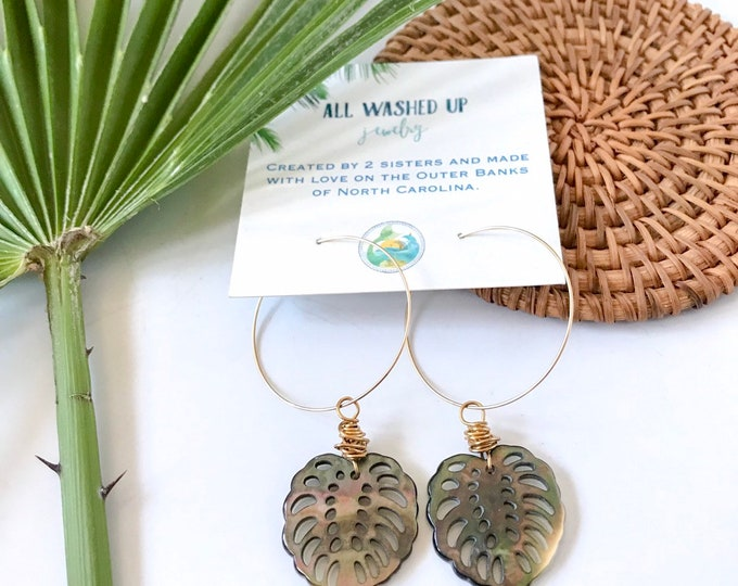 NEW! // Black Mother of Pearl Monstera Leaf Hoop Earrings