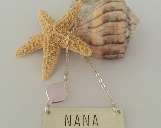 NANA Stamped Sterling Silver Bar Necklace