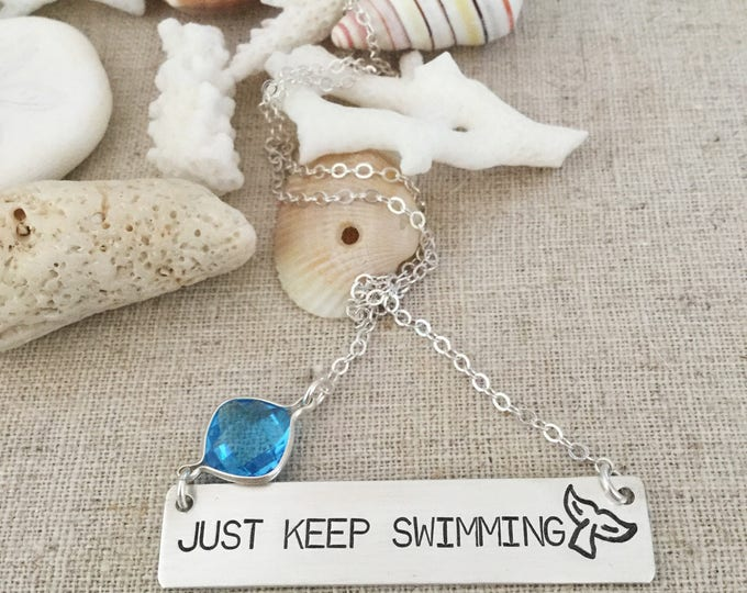 New! Just Keep Swimming Bar Necklace Sterling Silver
