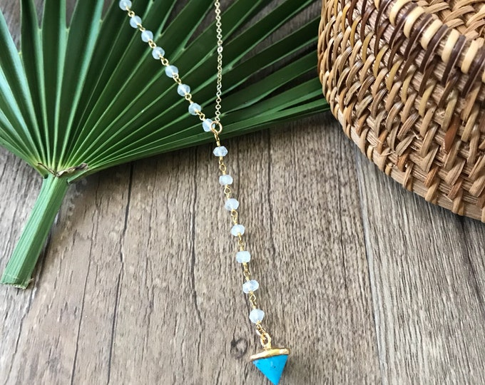 New! // Beaded Moonstone Turquoise Spike Lariat Necklace