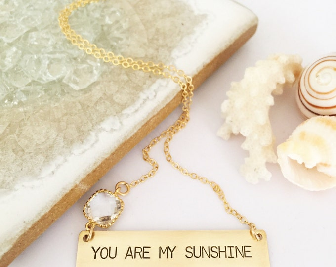 You Are My Sunshine Stamped Gold Fill Bar Necklace Boho Bridesmaids Friend Gift Layering All Washed Up Ocean Sea Beach Wedding