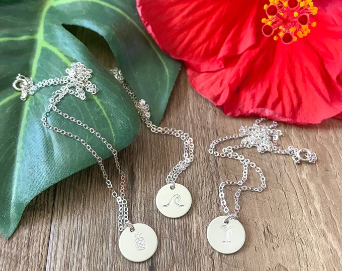 New! Stamped Sterling Silver Mini Discs Necklace