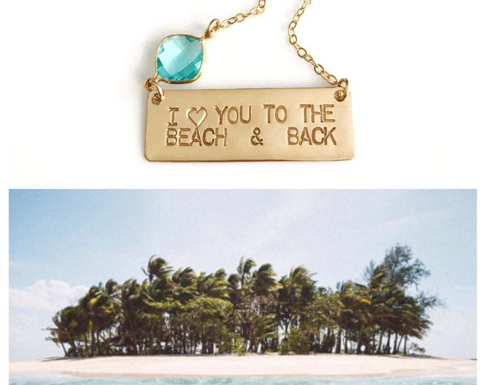 New! // Gold Fill Love You To The Beach & Back Bar Necklace