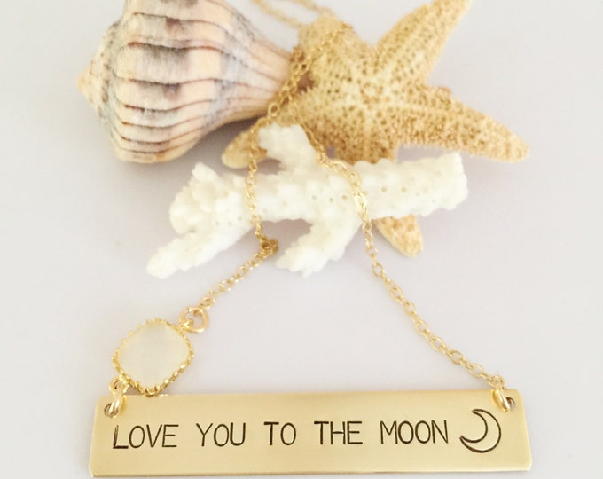 Love You To The Moon Stamped Bar Necklace Name Plate Ocean Beach Wedding Love Gift Gold Fill Gold Custom Personalized Anniversary