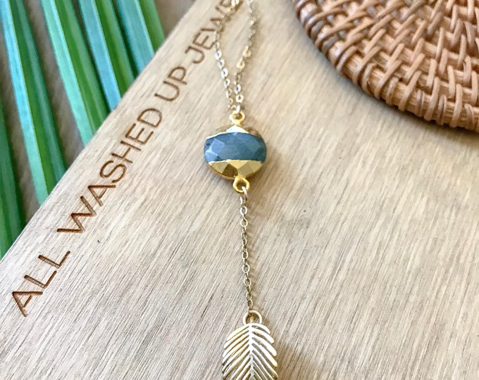 New! // Labradorite Palm Leaf Lariat Necklace