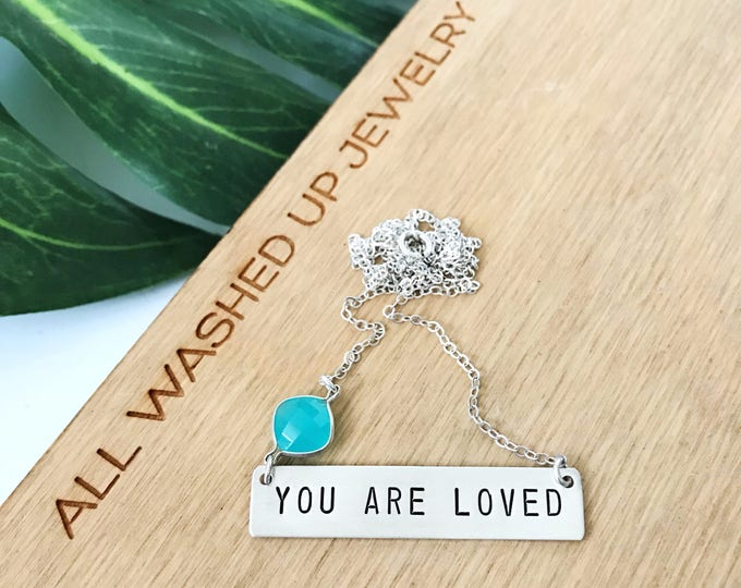 You Are Loved Sterling Silver Stamped Bar Nameplate Custom Love Valentines XOXO Gift