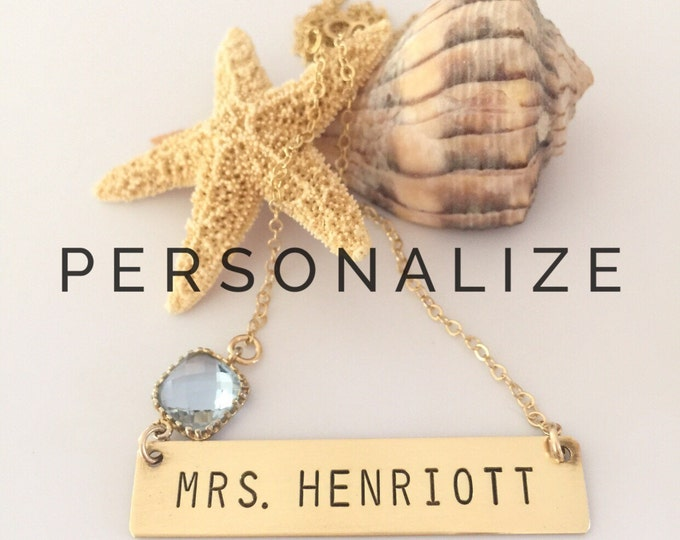 MRS Necklace Custom Personalized Stamped Wedding Bride Teacher Bar Nameplate Layering