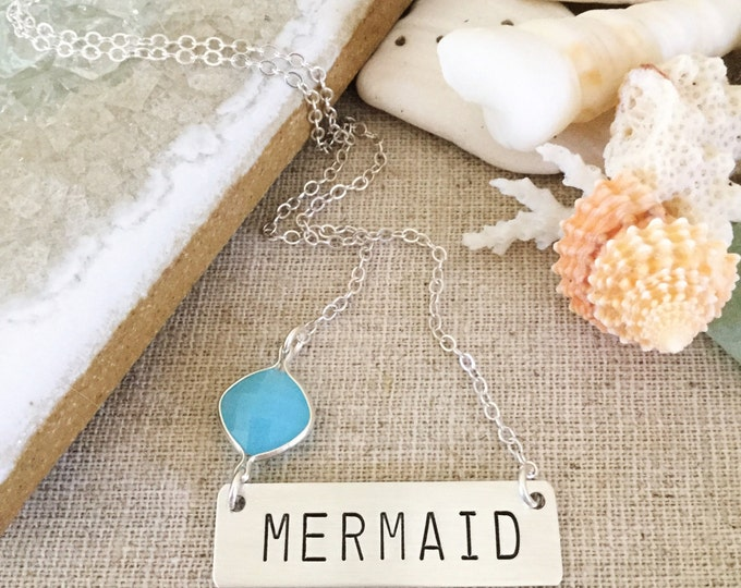 Mermaid Bar Necklace Stamped Sea Ocean Beach Outer Banks Boho Layering Sterling Silver Wanderlust Bohemian