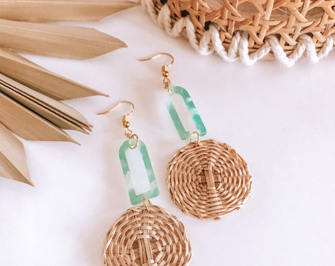 New! // Acrylic and Rattan Wrapped Earrings