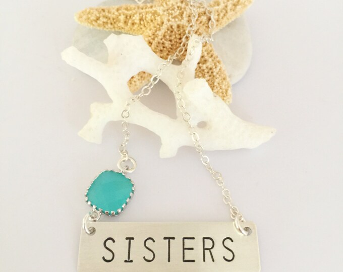SISTERS Sterling Silver Stamped Necklace Bar Nameplate Layering Personalized Family Name Sister Gift